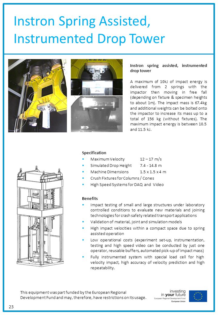 Instron Spring Assisted, Instrumented Drop Tower 23 Specification Maximum Velocity12 – 17 m/s Simulated Drop Height7.4 - 14.8 m Machine Dimensions1.5