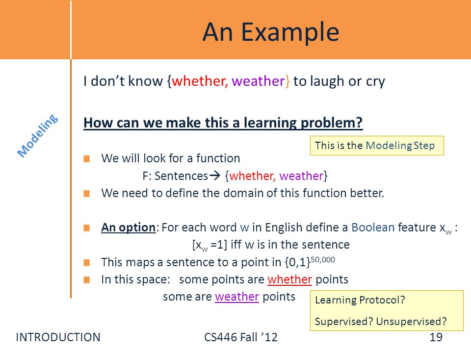 INTRODUCTIONCS446 Fall 12 An Example I dont know {whether, weather} to laugh or cry How can we make this a learning problem? We will look for a functi