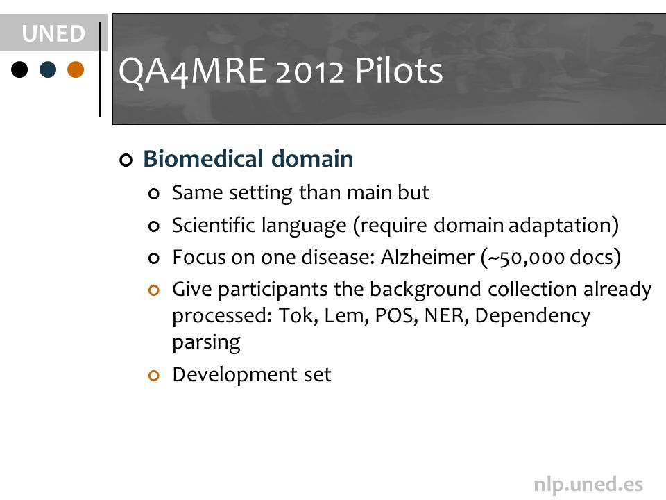 UNED nlp.uned.es QA4MRE 2012 Pilots Biomedical domain Same setting than main but Scientific language (require domain adaptation) Focus on one disease: Alzheimer (~50,000 docs) Give participants the background collection already processed: Tok, Lem, POS, NER, Dependency parsing Development set