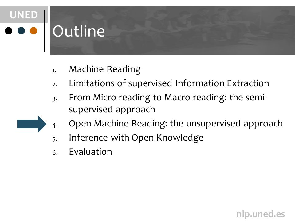 UNED nlp.uned.es Outline 1. Machine Reading 2. Limitations of supervised Information Extraction 3. From Micro-reading to Macro-reading: the semi- supe