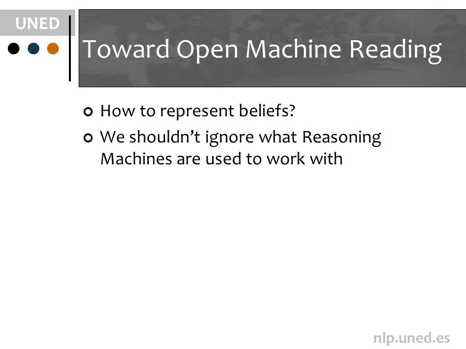 UNED nlp.uned.es Toward Open Machine Reading How to represent beliefs.