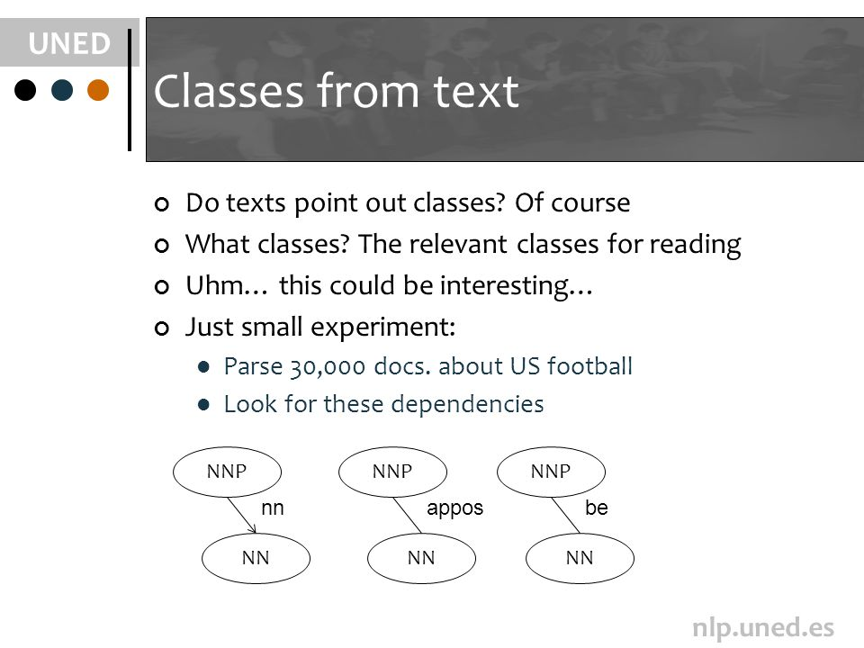 UNED nlp.uned.es Classes from text Do texts point out classes.