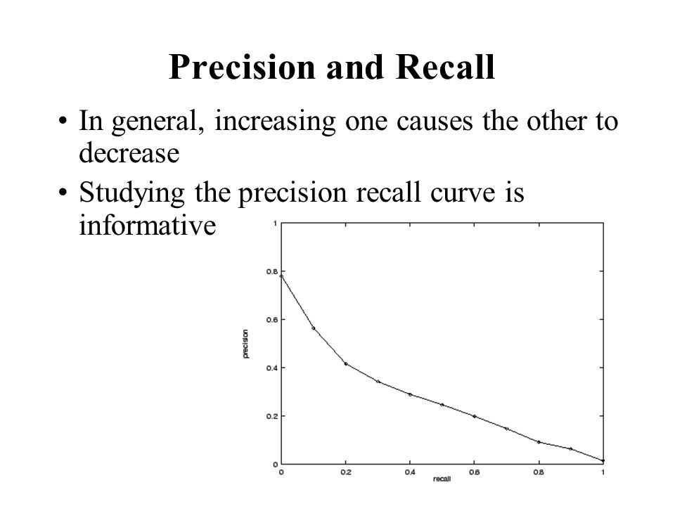 Precision and Recall In general, increasing one causes the other to decrease Studying the precision recall curve is informative