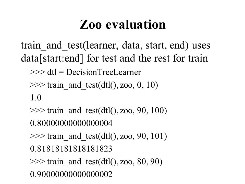 K-fold Cross Validation Problem: getting ground truth data can be expensive Problem: ideally need different test data each time we test Problem: experimentation is needed to find rightfeature space and parameters for ML algorithm Goal: minimize amount of training+test data needed Idea: split training data into K subsets, use K-1 for training, and one for development testing Common K values are 5 and 10