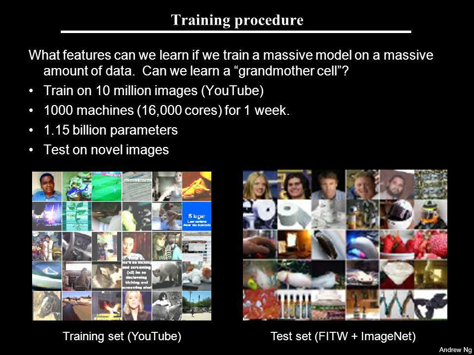 Andrew Ng Training procedure What features can we learn if we train a massive model on a massive amount of data. Can we learn a grandmother cell? Trai
