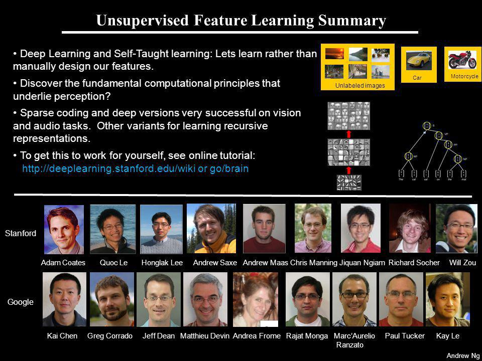 Andrew Ng Deep Learning and Self-Taught learning: Lets learn rather than manually design our features. Discover the fundamental computational principl