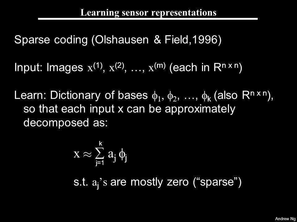 Andrew Ng Learning sensor representations Sparse coding (Olshausen & Field,1996) Input: Images x (1), x (2), …, x (m) (each in R n x n ) Learn: Dictionary of bases, …, k (also R n x n ), so that each input x can be approximately decomposed as: x a j j s.t.