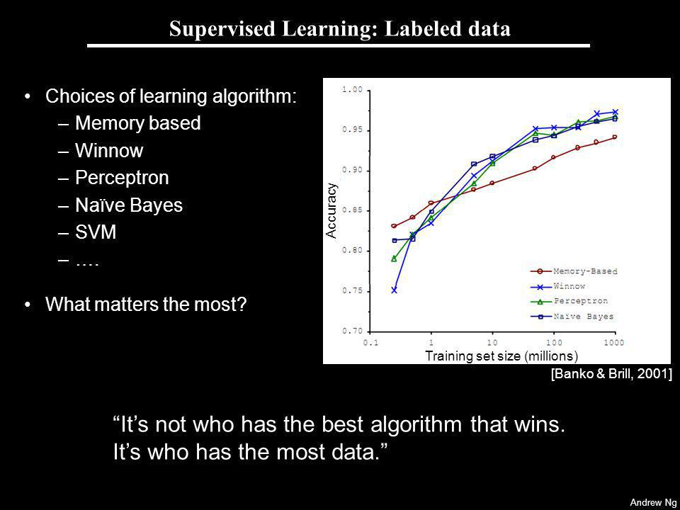 Andrew Ng Supervised Learning: Labeled data Choices of learning algorithm: –Memory based –Winnow –Perceptron –Naïve Bayes –SVM –….