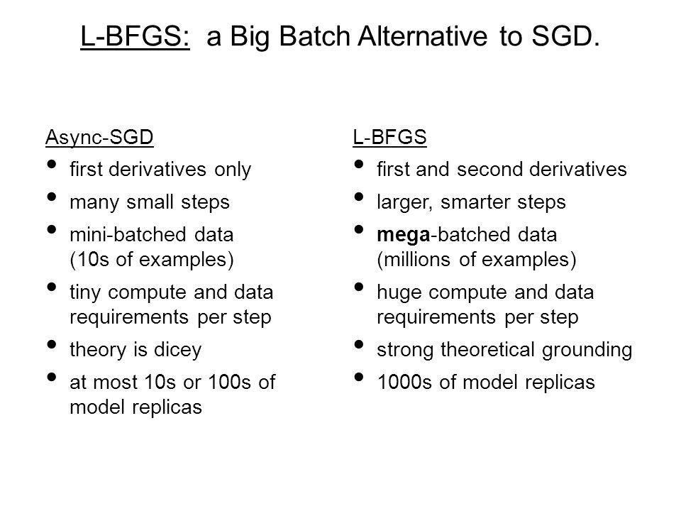 L-BFGS: a Big Batch Alternative to SGD. L-BFGS first and second derivatives larger, smarter steps mega-batched data (millions of examples) huge comput