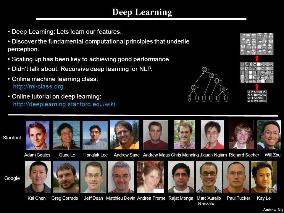 Andrew Ng Deep Learning: Lets learn our features.