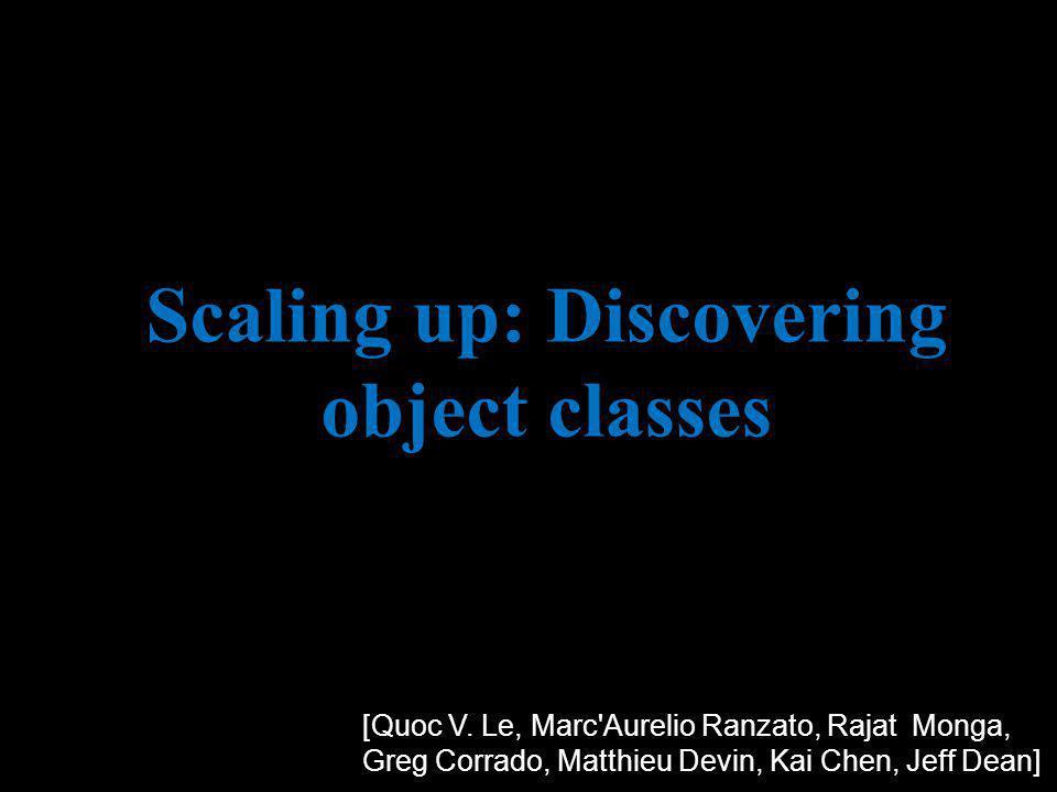 Scaling up: Discovering object classes [Quoc V. Le, Marc'Aurelio Ranzato, Rajat Monga, Greg Corrado, Matthieu Devin, Kai Chen, Jeff Dean]