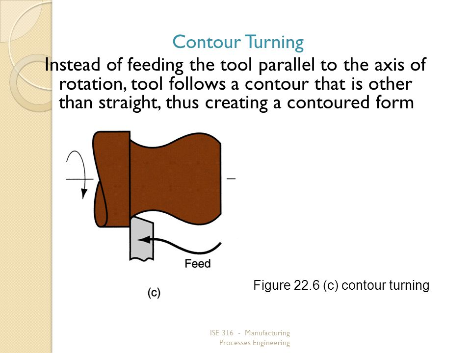 ISE 316 - Manufacturing Processes Engineering Contour Turning Instead of feeding the tool parallel to the axis of rotation, tool follows a contour tha