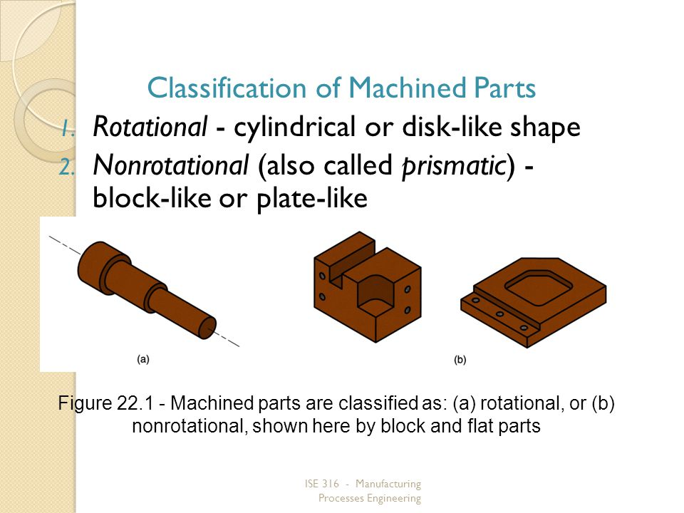 ISE 316 - Manufacturing Processes Engineering Classification of Machined Parts 1. Rotational - cylindrical or disk like shape 2. Nonrotational (also c