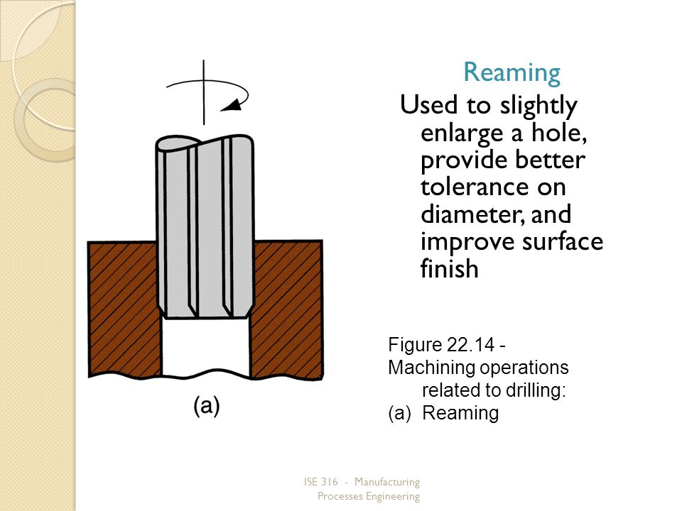 ISE 316 - Manufacturing Processes Engineering Reaming Used to slightly enlarge a hole, provide better tolerance on diameter, and improve surface finis
