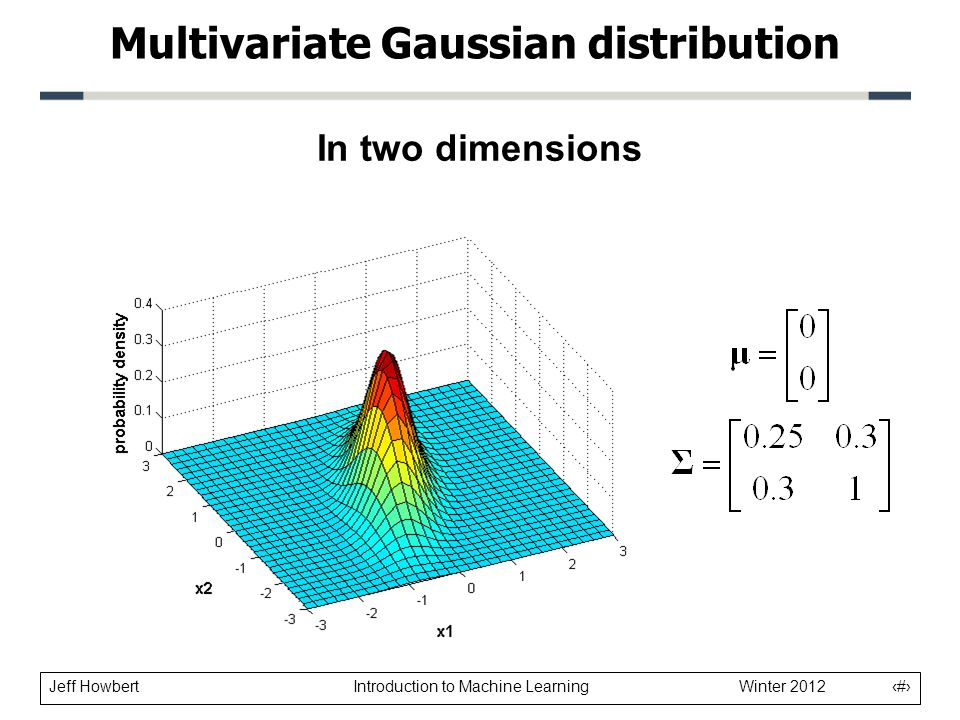 Jeff Howbert Introduction to Machine Learning Winter 2012 9 In two dimensions Multivariate Gaussian distribution