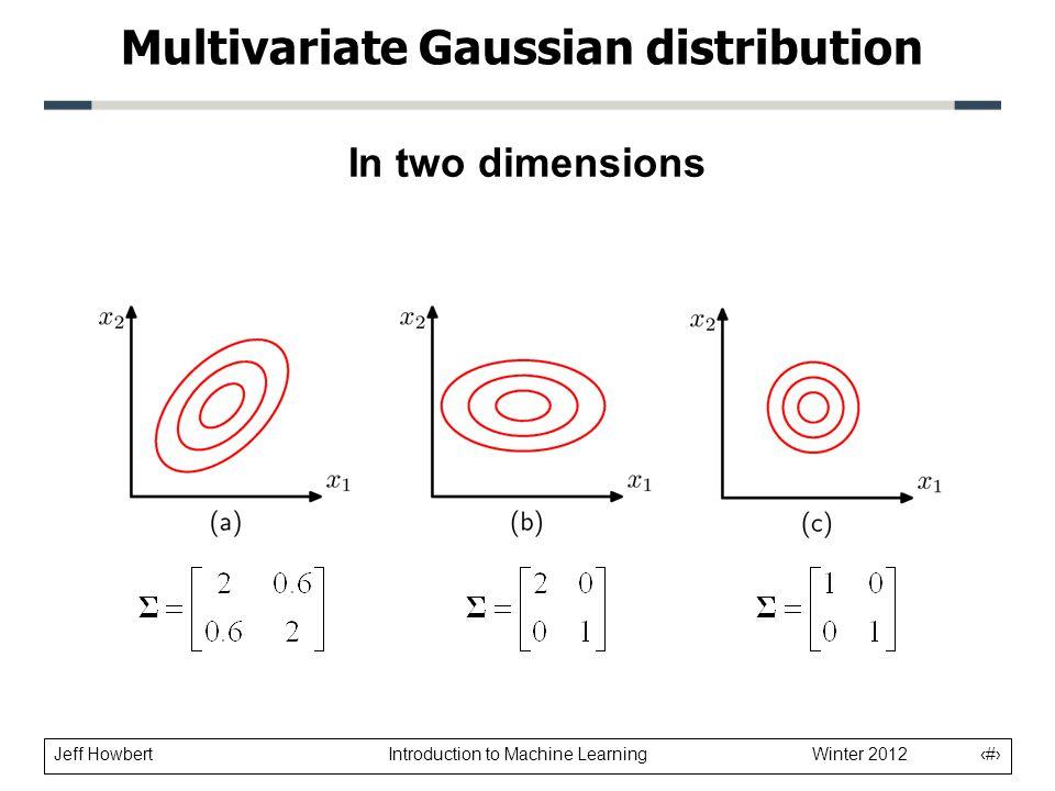 Jeff Howbert Introduction to Machine Learning Winter 2012 10 In three dimensions Multivariate Gaussian distribution rng( 1 ); mu = [ 2; 1; 1 ]; sigma = [ 0.25 0.30 0.10; 0.30 1.00 0.70; 0.10 0.70 2.00] ; x = randn( 1000, 3 ); x = x * sigma; x = x + repmat( mu , 1000, 1 ); scatter3( x( :, 1 ), x( :, 2 ), x( :, 3 ), . );