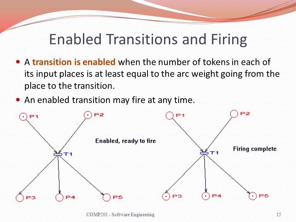 Enabled Transitions and Firing A transition is enabled when the number of tokens in each of its input places is at least equal to the arc weight going