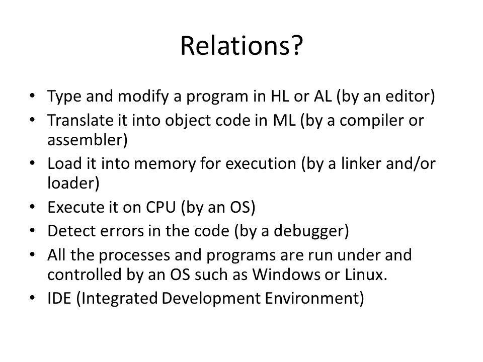 Topics Assembly language and its programming Structure (architecture) of machines.