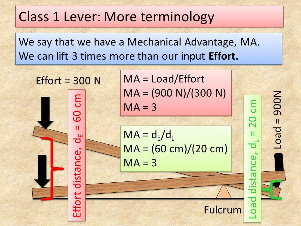 Class 1 Lever: More terminology Load = 900N Effort = 300 N Fulcrum Effort distance, d E = 60 cm Load distance, d L = 20 cm We say that we have a Mecha