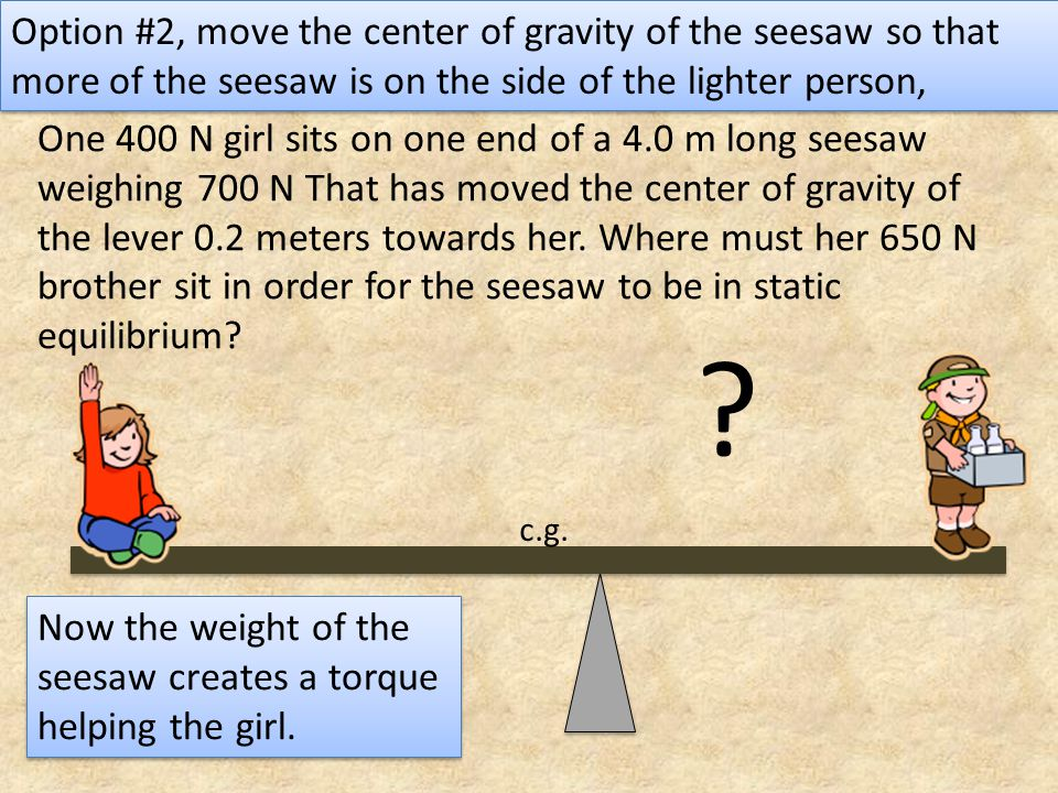 One 400 N girl sits on one end of a 4.0 m long seesaw weighing 700 N That has moved the center of gravity of the lever 0.2 meters towards her. Where m
