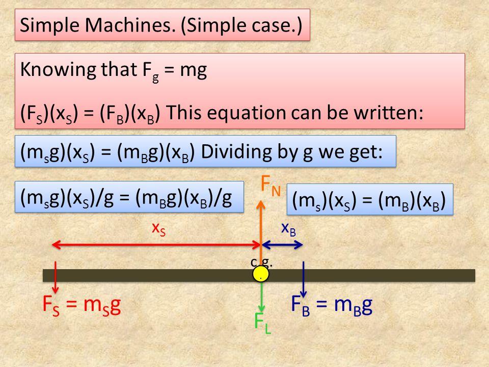 Simple Machines. (Simple case.) c.g. F S = m S gF B = m B g FLFL FNFN.. xBxB xSxS Knowing that F g = mg (F S )(x S ) = (F B )(x B ) This equation can