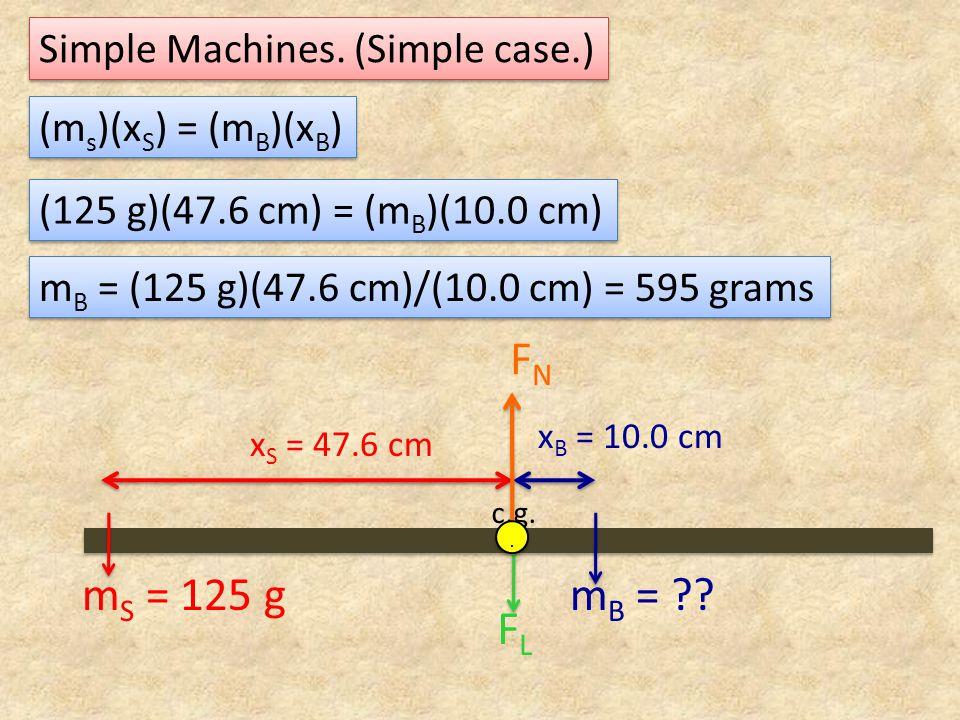 Simple Machines. (Simple case.) c.g. FLFL FNFN.. x S = 47.6 cm (m s )(x S ) = (m B )(x B ) m S = 125 gm B = ?? x B = 10.0 cm (125 g)(47.6 cm) = (m B )