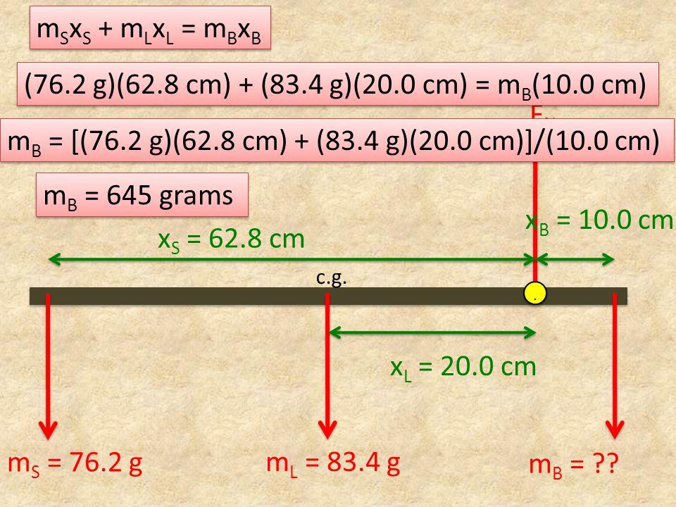FNFN x B = 10.0 cm m L = 83.4 g c.g... m S = 76.2 g m B = ?? x L = 20.0 cm m S x S + m L x L = m B x B x S = 62.8 cm (76.2 g)(62.8 cm) + (83.4 g)(20.0