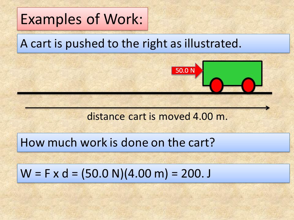 Examples of Work: A box is lifted as illustrated.How much work is done on the box.