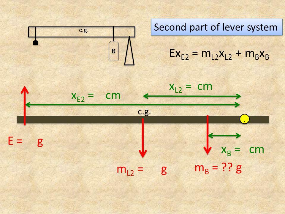 x E2 = cm x B = cm m L2 = g c.g... E = g m B = ?? g x L2 = cm Ex E2 = m L2 x L2 + m B x B Second part of lever system B B c.g.