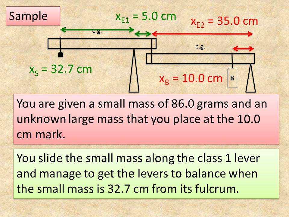 c.g. B B You are given a small mass of 86.0 grams and an unknown large mass that you place at the 10.0 cm mark. x E1 = 5.0 cm Sample You slide the sma