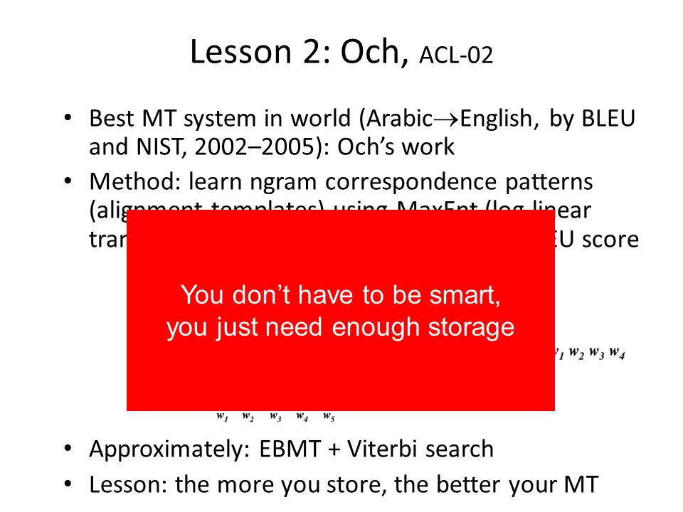 Storage needs Unigram translation table: bilingual dictionary – 200K words each side (2MB if each word is 10 chars) Bigram translation table (every bigram): – Lexicon: 200K = 2 18 words – Table entries: [200K 200K words + translations] = 4 10 10 entries – Each entry size = 4 words 18 bits = 9 bytes – 4 10 10 entries 9 bytes = 36 10 10 4 10 11 bytes = 0,4 TB (under $1000 at todays prices!) Trigram translation table (every trigram): – 1,2 10 5 TB ready in 2008.