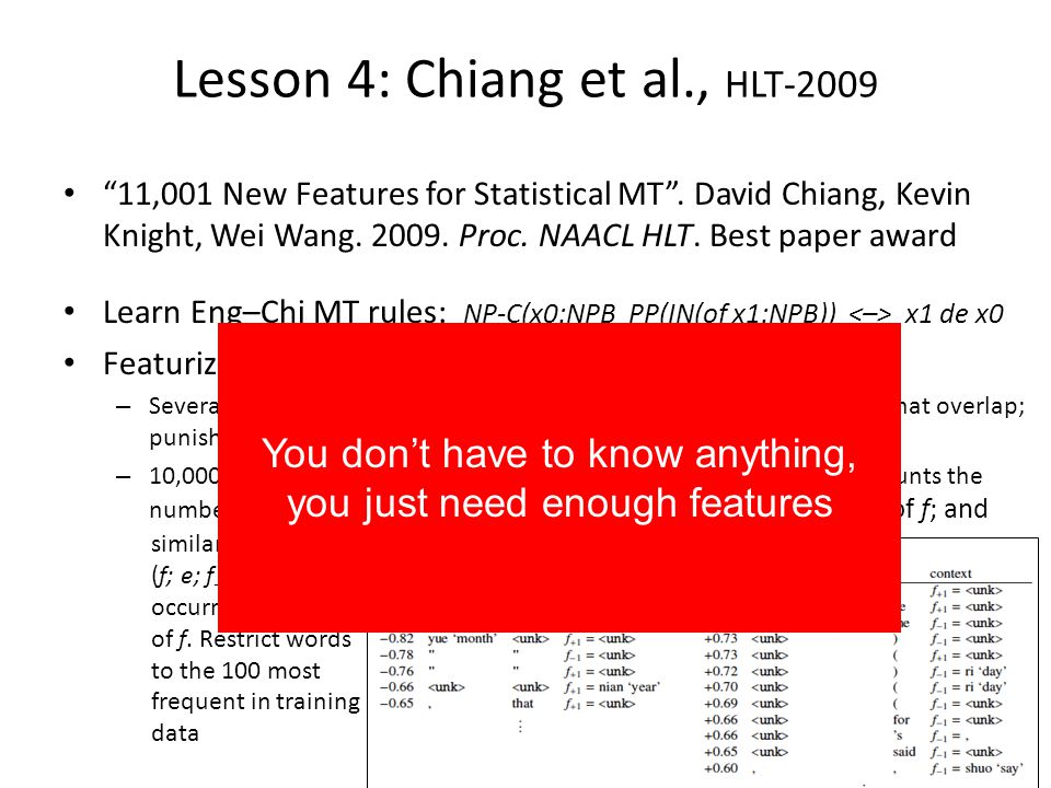 So you may be happy with this, but I am not … I want to understand whats going on in language and thought We have no theory of language or even of language processing in NLP Chasing after another algorithm that will be hot for 2 or 4 years is not really productive How can one inject understanding?