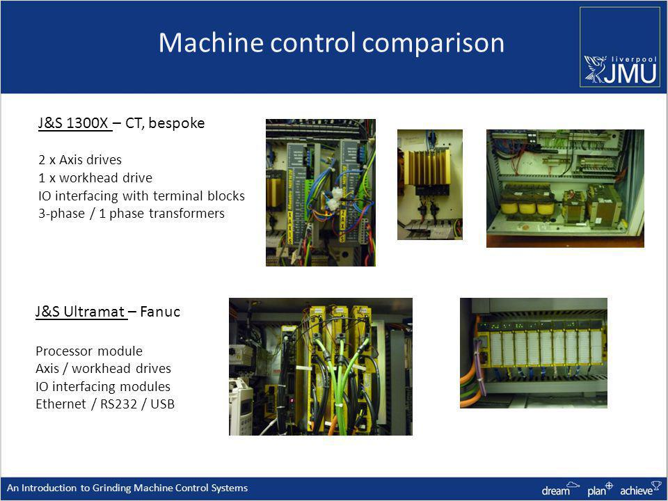 Machine control comparison An Introduction to Grinding Machine Control Systems J&S Ultramat – Fanuc Processor module Axis / workhead drives IO interfacing modules Ethernet / RS232 / USB J&S 1300X – CT, bespoke 2 x Axis drives 1 x workhead drive IO interfacing with terminal blocks 3-phase / 1 phase transformers