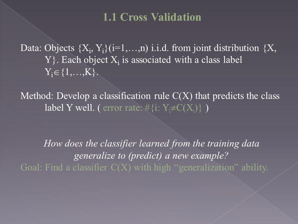 Data: Objects {X i, Y i }(i=1,…,n) i.i.d.from joint distribution {X, Y}.