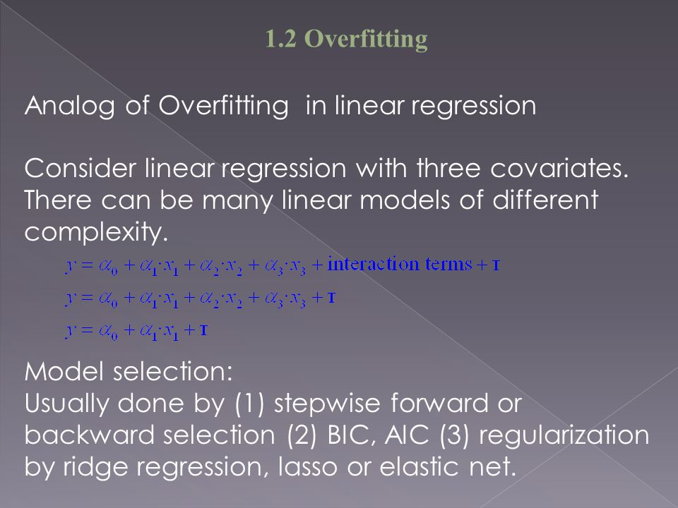 Analog of Overfitting in linear regression Consider linear regression with three covariates.