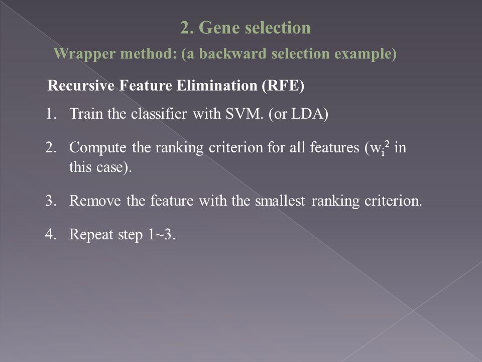 Recursive Feature Elimination (RFE) 1.Train the classifier with SVM.