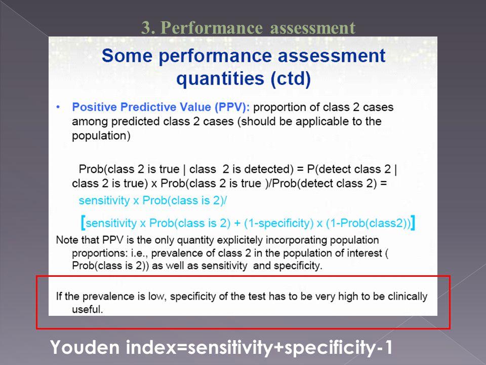 Youden index=sensitivity+specificity-1