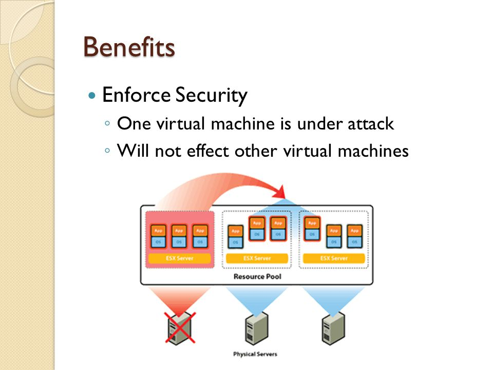 Benefits Enforce Security One virtual machine is under attack Will not effect other virtual machines