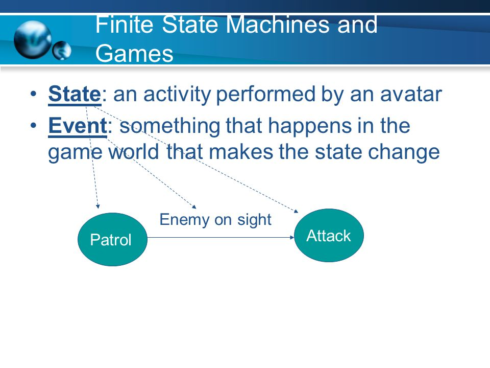 Finite State Machines and Games State: an activity performed by an avatar Event: something that happens in the game world that makes the state change Patrol Enemy on sight Attack