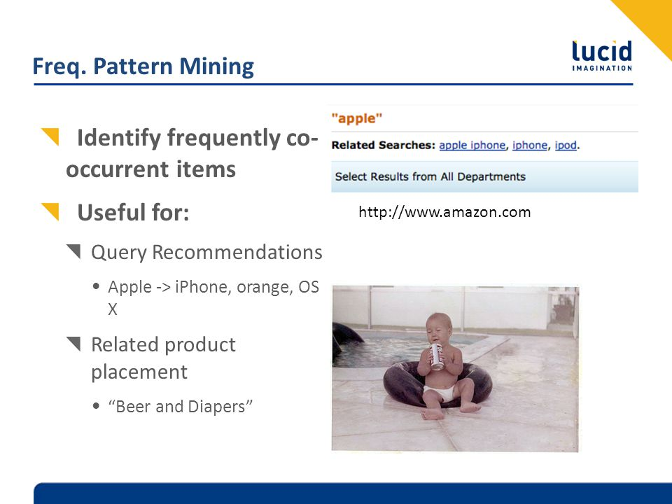 Freq. Pattern Mining Identify frequently co- occurrent items Useful for: Query Recommendations Apple -> iPhone, orange, OS X Related product placement
