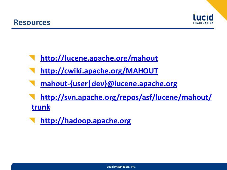Lucid Imagination, Inc. Resources http://lucene.apache.org/mahout http://cwiki.apache.org/MAHOUT mahout-{user|dev}@lucene.apache.org http://svn.apache