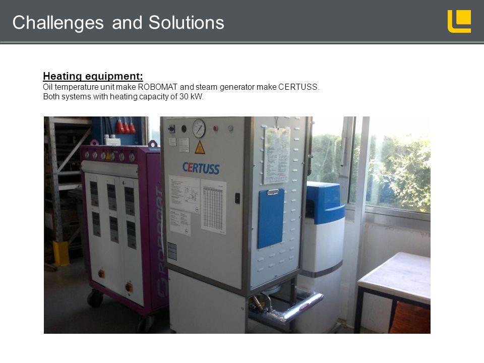 Kernschießmaschinentechnik Challenges and Solutions Heating equipment: Oil temperature unit make ROBOMAT and steam generator make CERTUSS. Both system