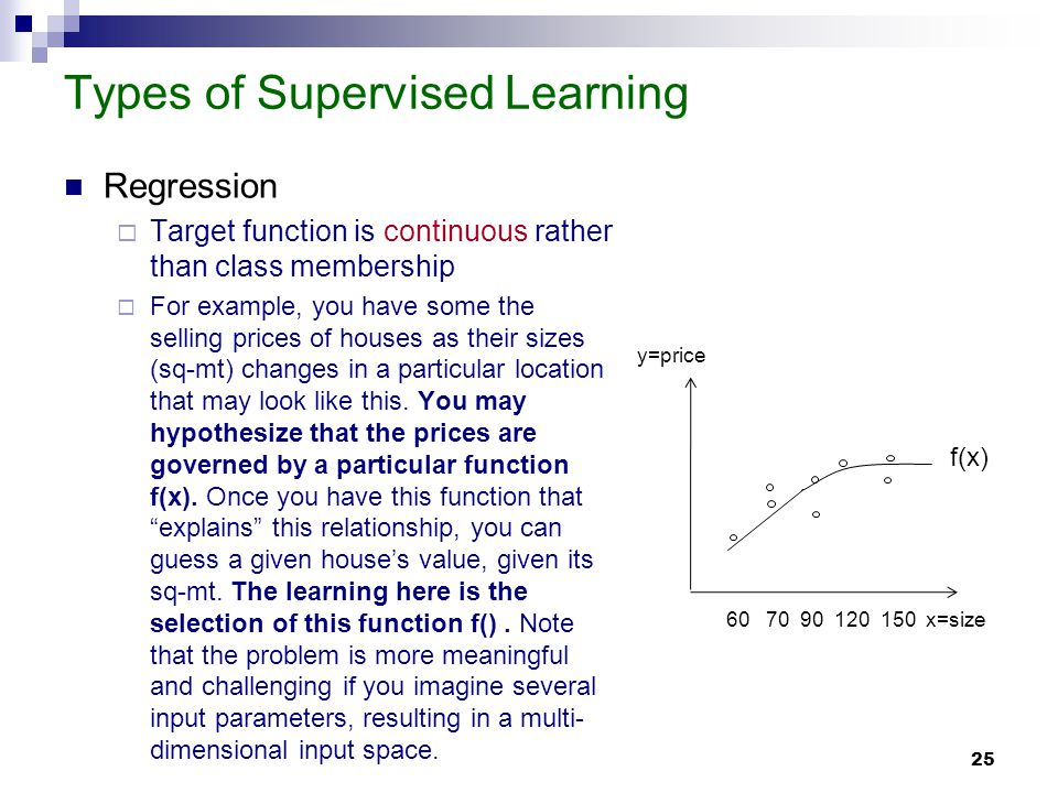 25 Types of Supervised Learning Regression Target function is continuous rather than class membership For example, you have some the selling prices of houses as their sizes (sq-mt) changes in a particular location that may look like this.