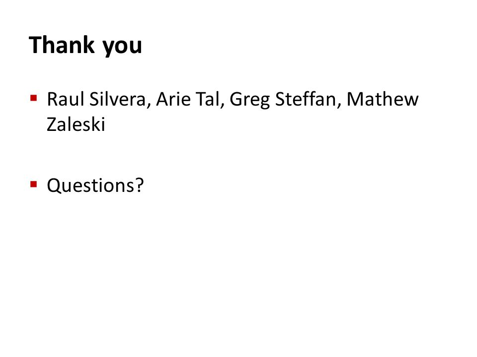 Thank you Raul Silvera, Arie Tal, Greg Steffan, Mathew Zaleski Questions