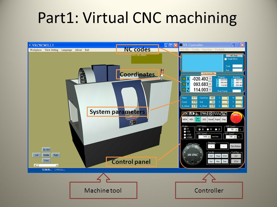 Virtual CNC machining: Interactive operation Hold the left button: move left and right/ zoom in and zoom out Hold the middle button: move up and down Hold the right button: rotate Set transparency View option Safety door can be open