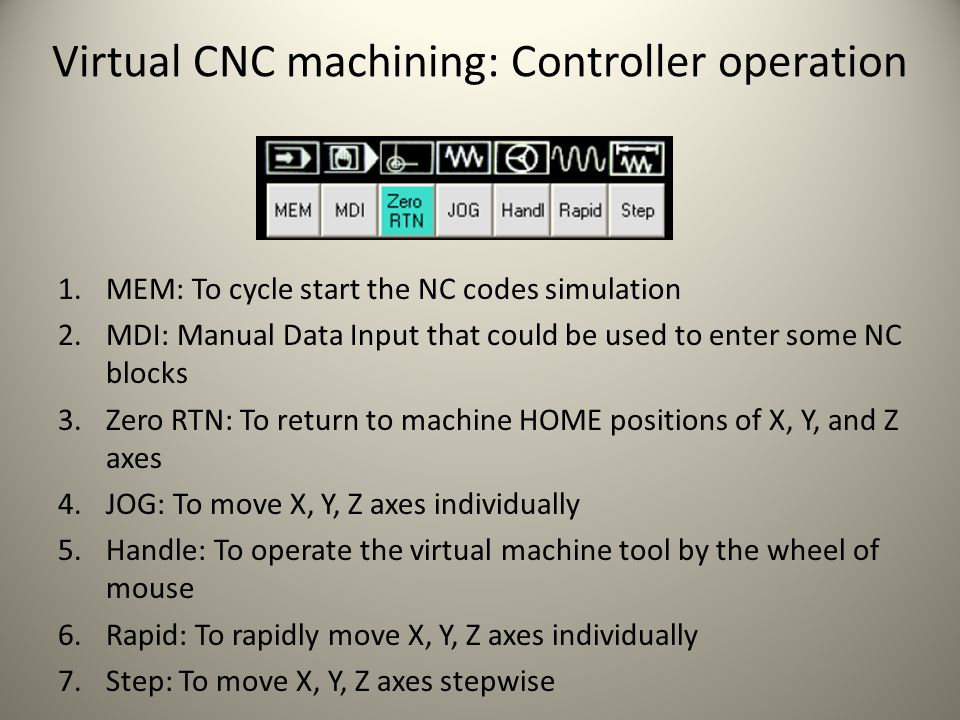 Virtual CNC machining: Tool exchange 3.Input tool exchange command, for example M6 T10 2.