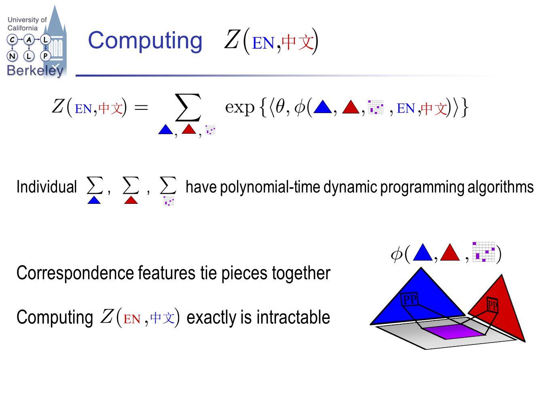 Computing Correspondence features tie pieces together EN EN Computing exactly is intractable EN EN Individual,, have polynomial-time dynamic programmi