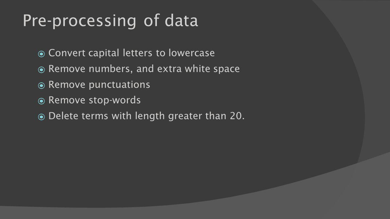 Pre-processing of data Convert capital letters to lowercase Remove numbers, and extra white space Remove punctuations Remove stop-words Delete terms with length greater than 20.