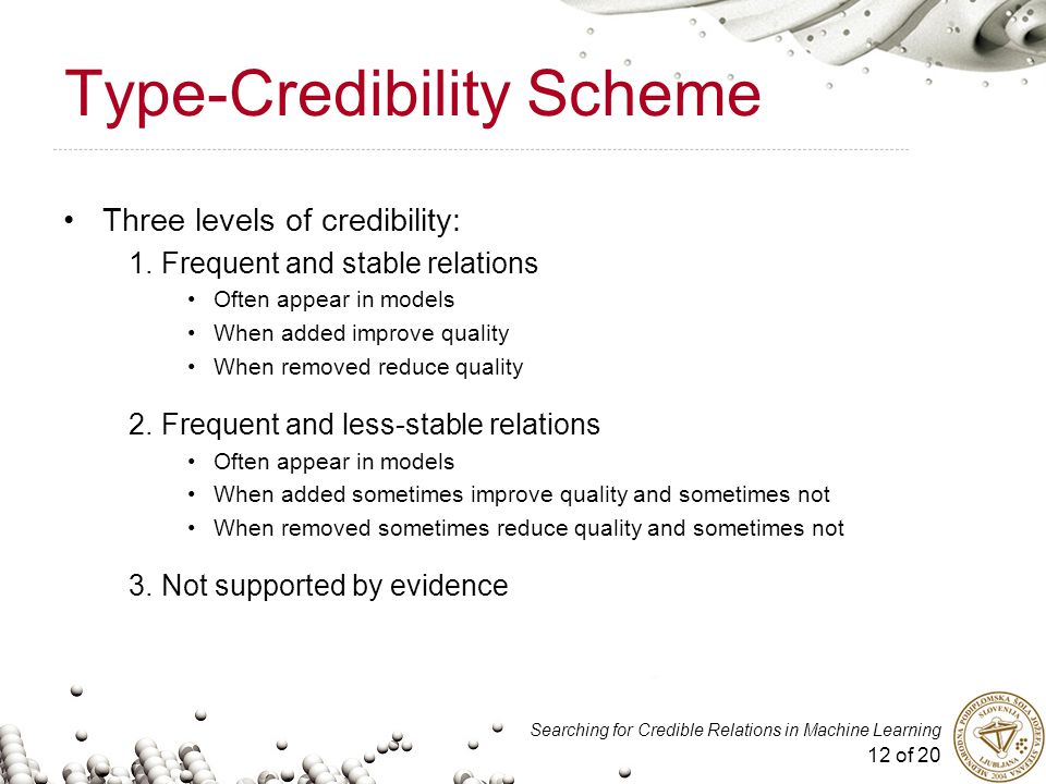 12 of 20 Searching for Credible Relations in Machine Learning Type-Credibility Scheme Three levels of credibility: 1.Frequent and stable relations Oft