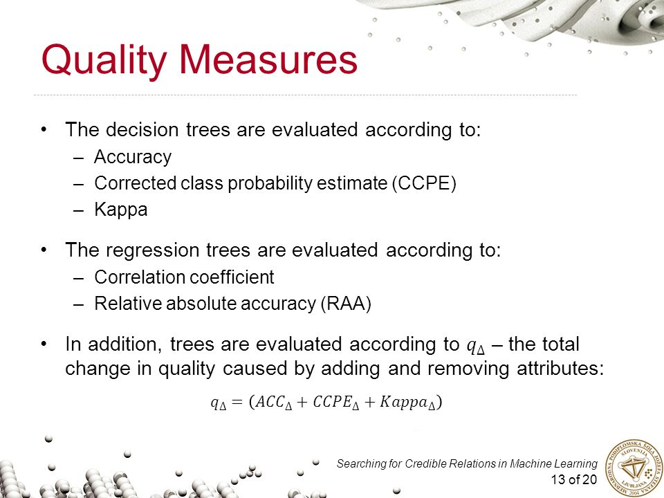 13 of 20 Searching for Credible Relations in Machine Learning Quality Measures